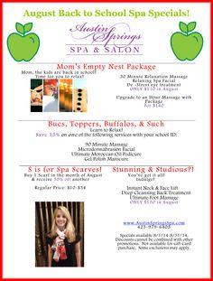 Our August specials have arrived! Eye Treatment, Spa Treatments, Spa Specials, Time Kids, Salon Services, Body Wraps, Environment Design, Pedi, Aromatherapy