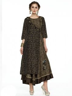 Shop Anarkali style brown cotton silk kurti online from G3fashion India. Brand - G3, Product code - G3-WKU11007, Price - 3295, Color - Brown, Fabric - Cotton,