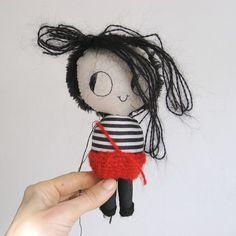 Happy Monday! In the making, a messy little vampire boy doll by Misako Mimoko  #misakomimoko #doll #softscuplture #stripes #vampire #vampiredoll #ragdoll #artdoll #waldorf #stripes #blackandwhitestripes #crochet #redpants #messyhair #gloomydoll #gloomy