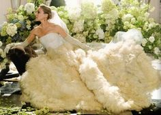 Carrie bradshaw Vogue photoshoot wearing a stunning wedding gown designed by Vera Wang