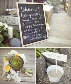 Like the welcome to the wedding chalkboard....loves chalkboards now!