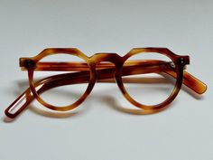 63529d144a29 Vintage French eyeglasses demi amber crown panto keyhole bridge Handmade in  France   RARE ---------------------------------- ----------------- Size ...