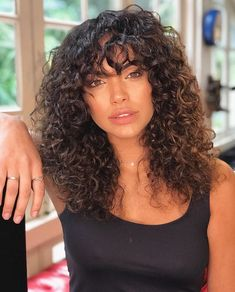 Naturally curly hair with bangs. Bangs for curly hair style Naturally curly 3a Curly Hair, Curly Hair Fringe, Curly Hair Styles, Curly Hair With Bangs, Hairstyles With Bangs, Natural Hair Styles, Short Fringe Bangs, Black Hair Fringe, Long Curly Haircuts