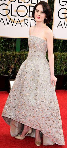 Michelle Dockery   2014 Golden Globes   wearing Oscar de la Renta
