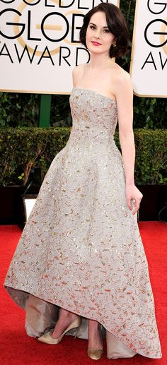 Michelle Dockery | 2014 Golden Globes | wearing Oscar de la Renta - @OscarPRGirl