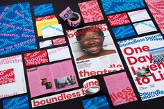 Logotype, posters, programme, business cards and website by London based studio Spy for Boundless Theatre