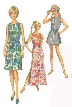1971 - Jiffy Dress in 2 Lengths & Shorts and Tunic - Simplicity 9359 - Complete Original Vintage Pattern - PLUS complete directions on resizing to any modern size!  Consutura Fashionista Etsy  $14.00