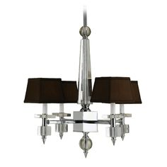 Polished chrome four-light chandelier with dark brown lamp shades from the Candice Olson line by AF Lighting.