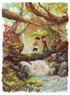 Discover the finest artists from animation, games, illustration and comics. Forest Illustration, Children's Book Illustration, Character Illustration, Watercolor Illustration Children, Environmental Art, Illustrations And Posters, Aesthetic Art, Cute Drawings, Cute Art