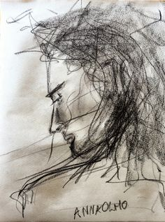 anna olmo - charcoal on paper, cm 23x32