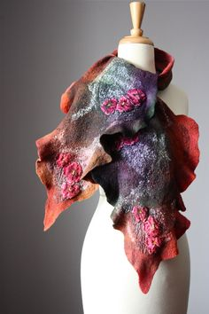 Nuno Felted scarf Wool Silk lace hand dyed by VitalTemptation, $135.00