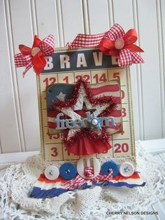 patriotic 4th of JULY bingo card-BRAVE FREEDOM star sign- handmade altered plaque decoration