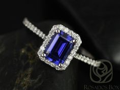 Lisette 7x5mm 14kt White Gold Rectangle Emerald Cut Blue Sapphire and Diamonds Halo Engagement Ring (Other Center Stone Available)