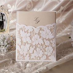 50 Flower lace pocket cards/ Wedding invitations and envelopes set / free gift