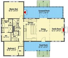 flooring plans Country Escape with Upper Floor Added - floor plan - Main Level 2 Bedroom House Plans, Small House Plans, House Floor Plans, Br House, Story House, Cottage House, Single French Door, French Doors, Cottage Plan