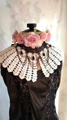 CROCHET LACE COLLAR Vintage Cottage Chic by MissPoppysFancy