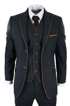 Mens Herringbone Tweed 3 Piece Suit Vintage Tailored Fit Brown Suede Patch Blue