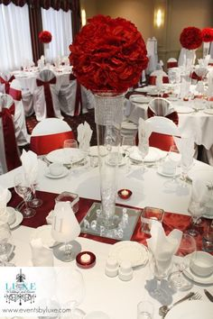 Burgundy and white tall wedding centerpiece
