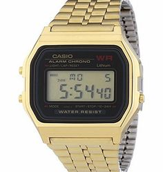 Casio Mens Digital Watch A159WGEA-1EF with Gold Tone Stainless Steel Bracelet Target Audience : Gent - Style : Vintage - Item Shape : Rectangular - Colors : Gilt - Materials : Stainless steel - Movement Type : Quartz - Water Resistance : 3 atm - Gl (Barcode EAN = 4971850946533) http://www.comparestoreprices.co.uk/bracelet-watches/casio-mens-digital-watch-a159wgea-1ef-with-gold-tone-stainless-steel-bracelet.asp