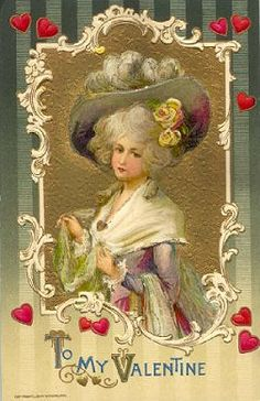 Rococo lady, To My Valentine! Beautiful old postcard!