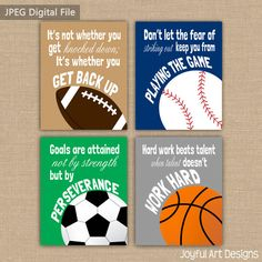 Set of 4 Motivating Sports Quotes PRINTABLE Signs. Football Soccer Baseball Basketball Wall Art. Boy
