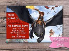 How To Train Your Dragon Birthday Party Invitation- Custom Digital File