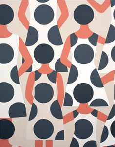 "Geoff Mcfetridge ~ ""Us Pattern"" (2014) Meditallucination Exhibition, V1 Gallery Copenhagen, Denmark via artist's site"