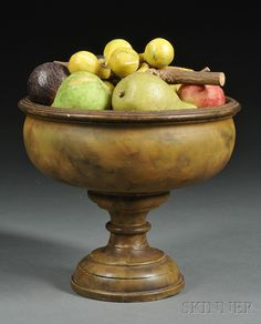 Paint-decorated Turned Wood Compote with Stone Fruit, America, 19th century