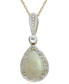 14k Gold and 14k White Gold Necklace, Opal (7/8 ct. t.w.) and Diamond (1/10 ct. t.w.) Pear-Shaped Pendant
