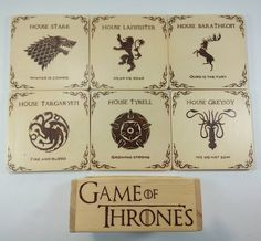 """Are there any GoT fans out there?! Say""""Valar morghulis""""! #got #gameofthrones #valarmorghulis #pyrography #woodburning #coasters #gotcoasters #artisignis"""