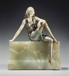 Art Deco girl on a wall - cold painted bronze, ivory, and onyx sculpture, by Ferdinand Preiss, Austria, ca.1925.