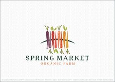 Logo for sale: Bright and colorful arrangement of heirloom carrots positioned in the center of a curved element, which Logo for sale: represents the ground/earth. The carrots are positioned in the middle of the hill representing growth and harvesting of these healthy organic vegetables.