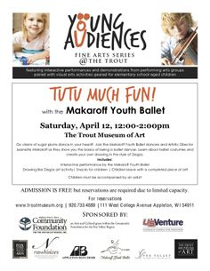 Learn about ballet and complete a visual art project at this fun event on April 12 at the Trout Museum of Art.