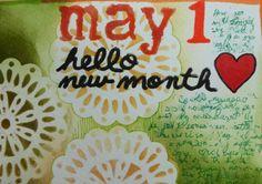 Art Journal page by Janet Joehlin using the Teardrop doily stencil from StencilGirl