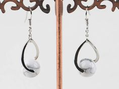 admirably 8mm white turquoise ball earrings