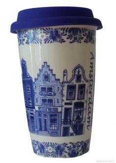 Coffeemug delftblue Amsterdam with cover