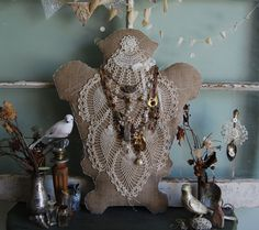 Vintage Doily and Burlap Jewelry Dress Form Style Display