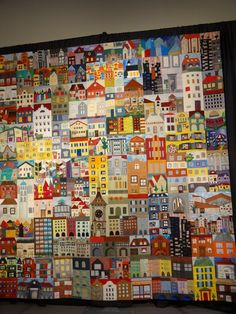 The Berne House Quilt by members of the Berenese Quilters, on display at Quilt Festival Cincinnati. House Quilt Block, Quilt Blocks, Map Quilt, Quilt Art, International Quilt Festival, Quilt Modernen, Art Textile, Landscape Quilts, Fabric Houses