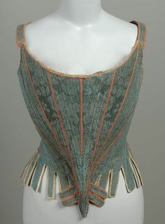 Stays, silk damask lined with linen, stiffened with whalebone and bound with silk tape and kid leather, c. 1750, French.
