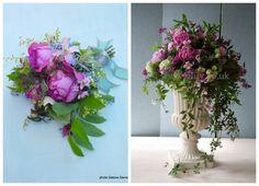 summer flowers brides bouquet and large urn arrangement