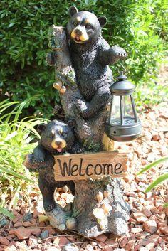 New Black Bear Welcome Solar Garden Lantern Light Statue Sculpture Figurine