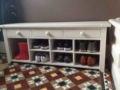Interesting Wooden Shoe Rack for Storage Organization Rectangle White Wooden Shoe Rack With Drawers On Brown Tile Floor Interior Exterior Design Inspirations, Decorating Ideas Photos wooden shoe rack diy. Garage Shoe Shelves, Cubby Shelves, Ikea Shelves, Wall Mounted Shelves, Storage Hacks, Cube Storage, Wooden Shoe Racks, Paint Storage, Rack Design