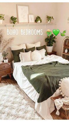 Bedroom Decor For Small Rooms, Bedroom Decor For Couples, Room Design Bedroom, Boho Bedroom Decor, Room Ideas Bedroom, Home Bedroom, Nature Bedroom, Apartment Bedrooms, Art Deco Bedroom