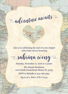 5x7 travel themed bridal shower invitation - travel theme - map, Baby shower invitations