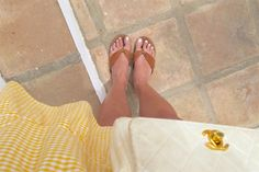 Heartfelt Hunt - Yellow Gingham - Yellow gingham dress, vintage Chanel bag, Ray-Ban sunglasses, sandals and blond, long hair - Summer Fashion and cute Maternity Style / Pregnancy Style