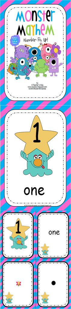 This is a bright and colorful number card set based on both a monster and cotton… Teaching Numbers, Primary Teaching, Teaching Math, Teaching Ideas, Monster Classroom, Early Years Maths, Effective Teaching, Candy Theme, Math Manipulatives
