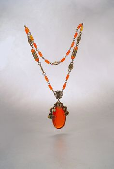 Czech Art Deco Necklace Vauxhall Glass Amber by sodear2myheart, $219.00