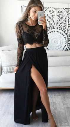 Stunning Two Piece Jewel Long Sleeves Black Prom Dress with Lace Top,Split at lower part of dress,Sexy dress,