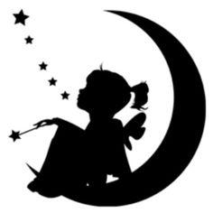 Fairy child on moon silhouette Silhouette Cameo, Portrait Silhouette, Fairy Silhouette, Silhouette Projects, Silhouette Design, Moon Silhouette, Watercolor Tatto, Geometric Tatto, Kirigami