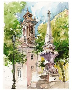 Watercolor sketch of Lisbon by Marc Holmes  #sketchcollector  http://www.urbansketchers.org/2011/08/back-from-lisbon_03.html?m=1